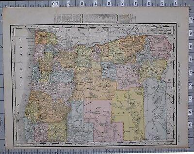 1906 Map United States Oregon Counties & Cities Grant Portland Salem Astoria