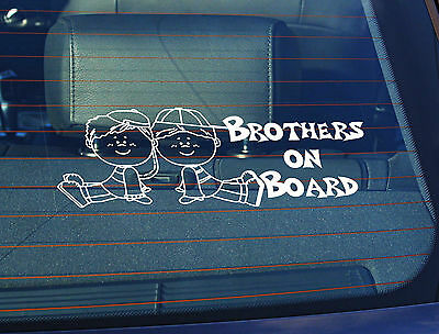 Static Cling Window Car Sign/Decal Brothers on Board Little Boys 100 x 250mm 2