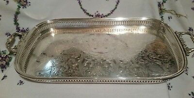 "Wallace Silverplate Footed Serving Tray Platter-Large 23"" x 11.5"" Handles Ornate"