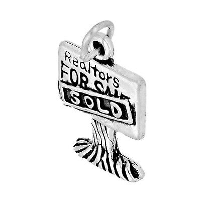 Realtor FOR SALE House SOLD Sign 3D .925 Solid Sterling Silver Charm MADE IN USA