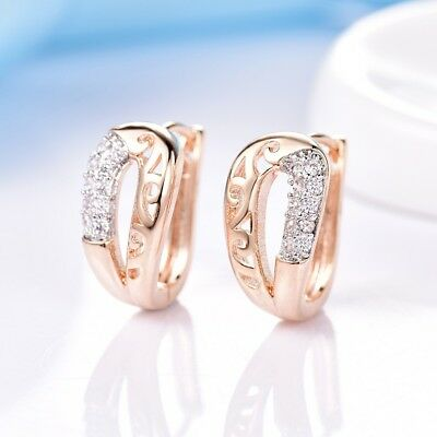 Brilliant Women White Sapphire Crystal Gold Platinum Filled Tiny Hoop Earrings