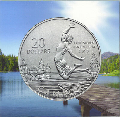 Canada 2014 $20 Summertime Swimming in Lake Silver Coin
