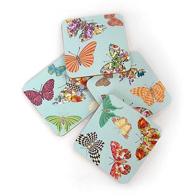 Authentic Mackenzie Childs     Butterfly Garden Cork Coasters - Sky - Set of 4