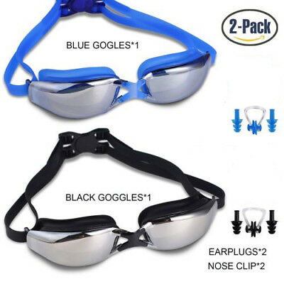 2 Pack Swimming Goggles Swim Anti Leakage Fog Anti UV with Swim Plugs Nose Clip