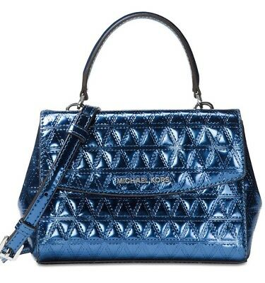 569491e80ae97 New Michael Kors Ava Mini Crossbody Glimmering leather bag steel Blue  holiday