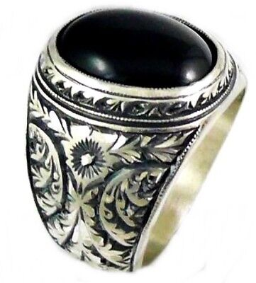 Turkish 925 Sterling Silver HEAVY black onyx stone mens man ring ALL SİZE us