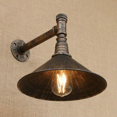 industrail Iron Rust Pipe Wall Lamp Sconce Light with Switch Lighting Fixture