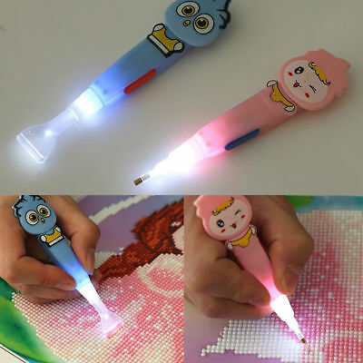 5D Painting Diamond Rhinestone Stitch Led Light Pen DIY Embroidery Craft Tool