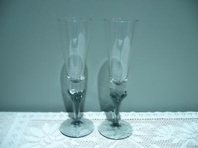 2 X Lovely Hand Blown Wine / Champagne Glasses - Very Good Cond