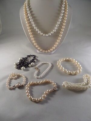 Faux Pearl Jewelry Lot Necklace and Bracelet Y1