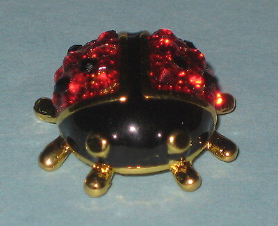 LADYBUG pin Crystal Accents NEW Red Black Gold Tone Brooch Tie Tac Backing
