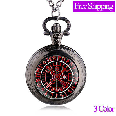 New Antique Bronze/silver Vikings Compass Pocket Watch pendant Necklace Gift