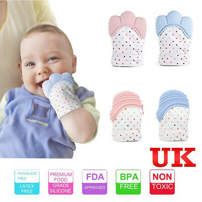 UK Baby Silicone Mitts Teething Mitten Teething Glove Candy*Wrapper*Soft*Teether