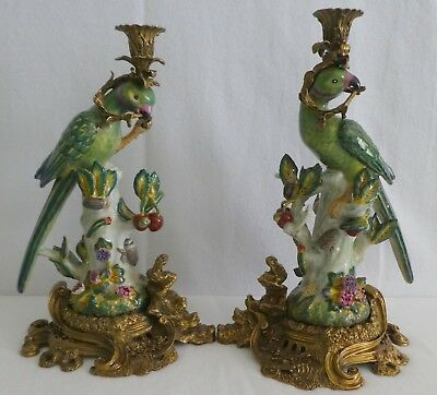 PAIR Porcelain Parrot Candle Holders French Style Bronze Base Vintage
