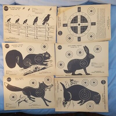 Vtg Sears Target Lot Of 6 Unused Fox Rabbit Squirrel Rail Bird Woodchuck Sighter