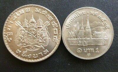 Thailand (Siam) 1 Baht 1962 - 1 Baht 1982.excellent Condition Coins.