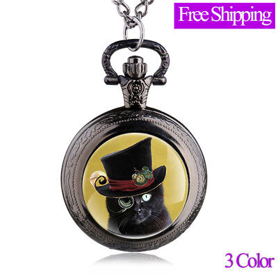 Antique Cute Bronze Cat With Sunglasses Steampunk Pocket Watch Necklace