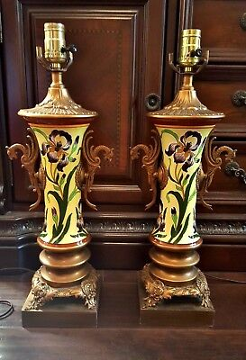Pair Of Antique French Longwy Ormolu Bronze Brass Footed Lamps Dragon Handles