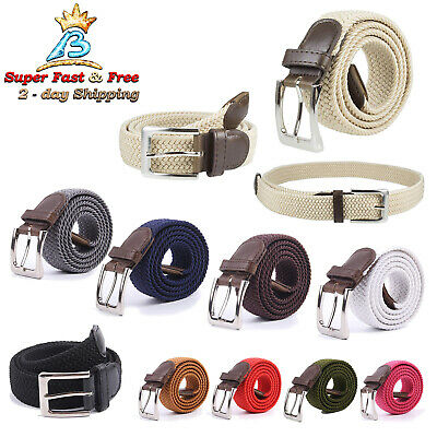 Men Women Braided Belt Elastic Stretch Comfort Golf Belt Waistband Metal Buckle