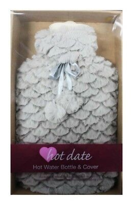 Hot Date Hot Water Bottle & Cover Fluffy Beige - New