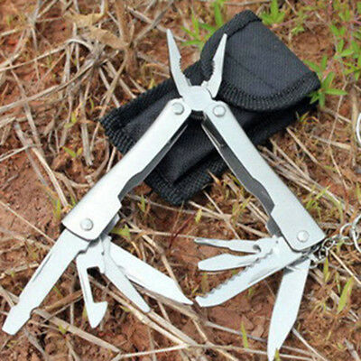Portable 9In1 Stainless Steel Multi Tool Plier Outdoor Pocket Mini Camping Kit.