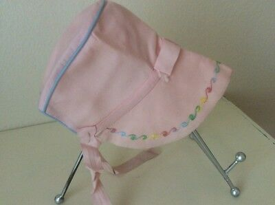 Vintage Pink Baby Bonnet With Brim