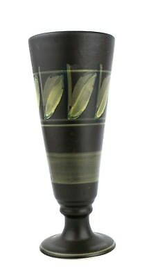 Vintage Retro Honiton Pottery Vase Footed Leaf Brown Green Hand Painted 22.5 cm