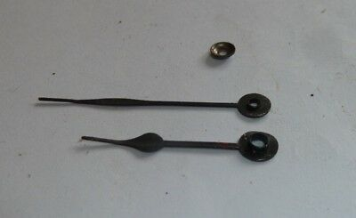 Pair of spade shaped hands from small French mantel clock c1900