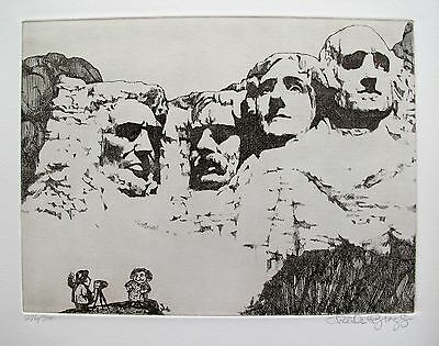 """CHARLES BRAGG """"MOUNT RUSHMORE"""" Hand Signed Limited Edition Etching RARE!"""
