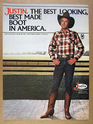 1980 steve kanaly photo Justin Cowboy Boots Dallas Collection vintage print Ad