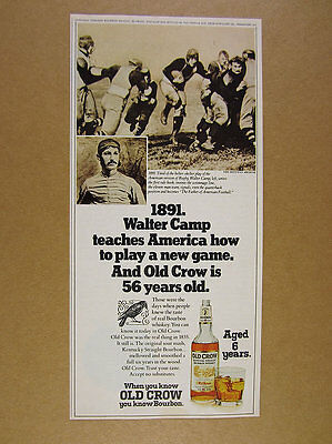 1974 Walter Camp football photo Old Crow Bourbon vintage print Ad