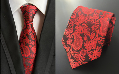 Tie Black Silk Mens Paisley Woven Classic 2018 Wedding Necktie JACQUARD 1#