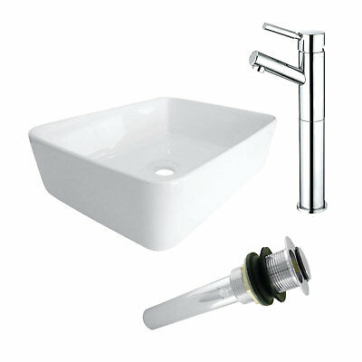 Kingston Brass Ceramic Square Vessel Bathroom Sink with Faucet