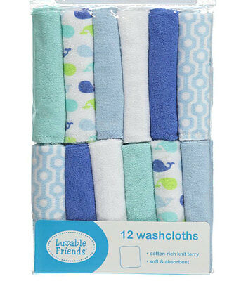 """Luvable Friends """"Sweet Whales"""" 12-Pack Washcloths"""