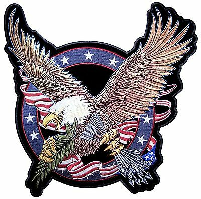 Large Patriotic American Flag Eagle Clutching Arrows Embroidered Biker Patch