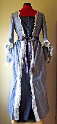 Women's  blue colonial style costume dress w/detachable overskirt  & fabric bows
