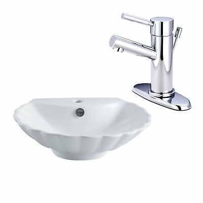 Kingston Brass Ceramic Specialty Vessel Bathroom Sink with Faucet and Overflow