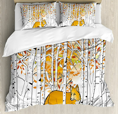 Hunting Fox in Autumn Forest Birch Trees Rustic Wilderness Animal Duvet Set