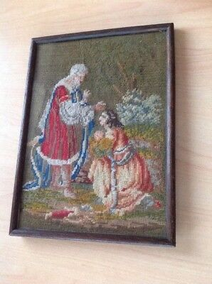 Antique Framed Tapestry Embroidery Picture Needlework