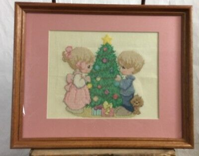 Precious Moments Cross Stitch Completed Picture Christmas Tree Ornament decorate