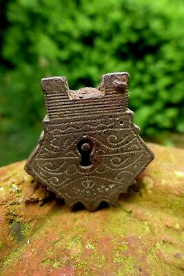 Antique Vintage Small Brass Padlock No key Stamped Mark Rust Old Russia 12-16