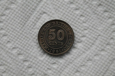 Malaya and British Borneo Coin, 50 Cent from 1961 in excellent condition