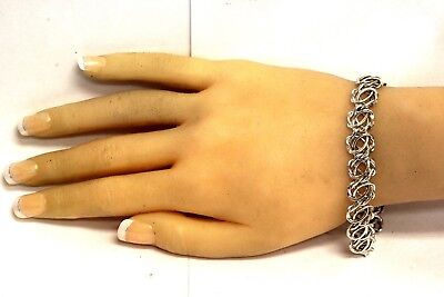 "14k white gold hollow fancy bracelet womens 7.5g 7 1/2""  vintage estate antique"