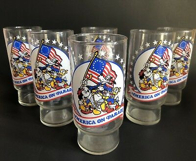LOT 6 1976 Disney America on Parade Coke Coca Cola Glasses in great shape