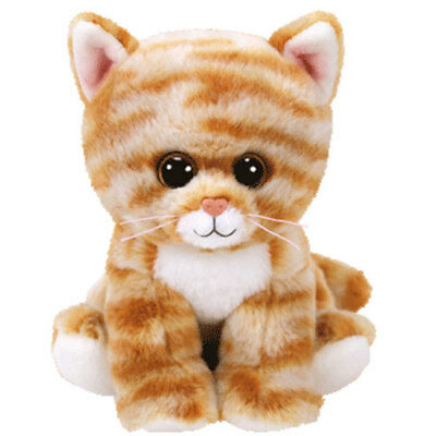 "TY Beanie Baby 6"" CLEO Orange Tabby Cat Plush Stuffed Animal Toy w/ Heart Tags"