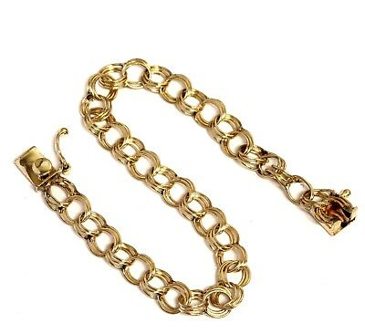 "14k yellow gold hollow charm bracelet 6.9g estate vintage antique 7"" womens"