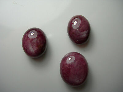 45.1ctw parcel genuine STAR Ruby Cabs 3 cabochons Red FLUORESCENT asterism Large