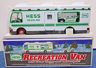 1998 Hess Recreation Van Truck with Dune Buggy and Motorcycle MIB
