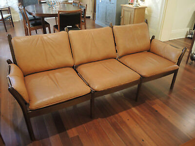 Mid Century Modern Danish Illum Wikkelso Leather Genius 3 seater Lounge