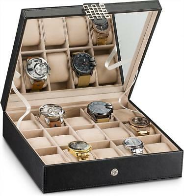 Glenor Co Watch Box for Women - 15 Slot Classic Case Display Organizer with...